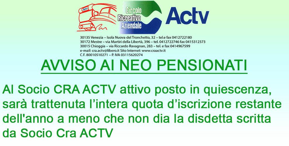 Avviso ai neo pensionati relativo all'iscrizione al circolo